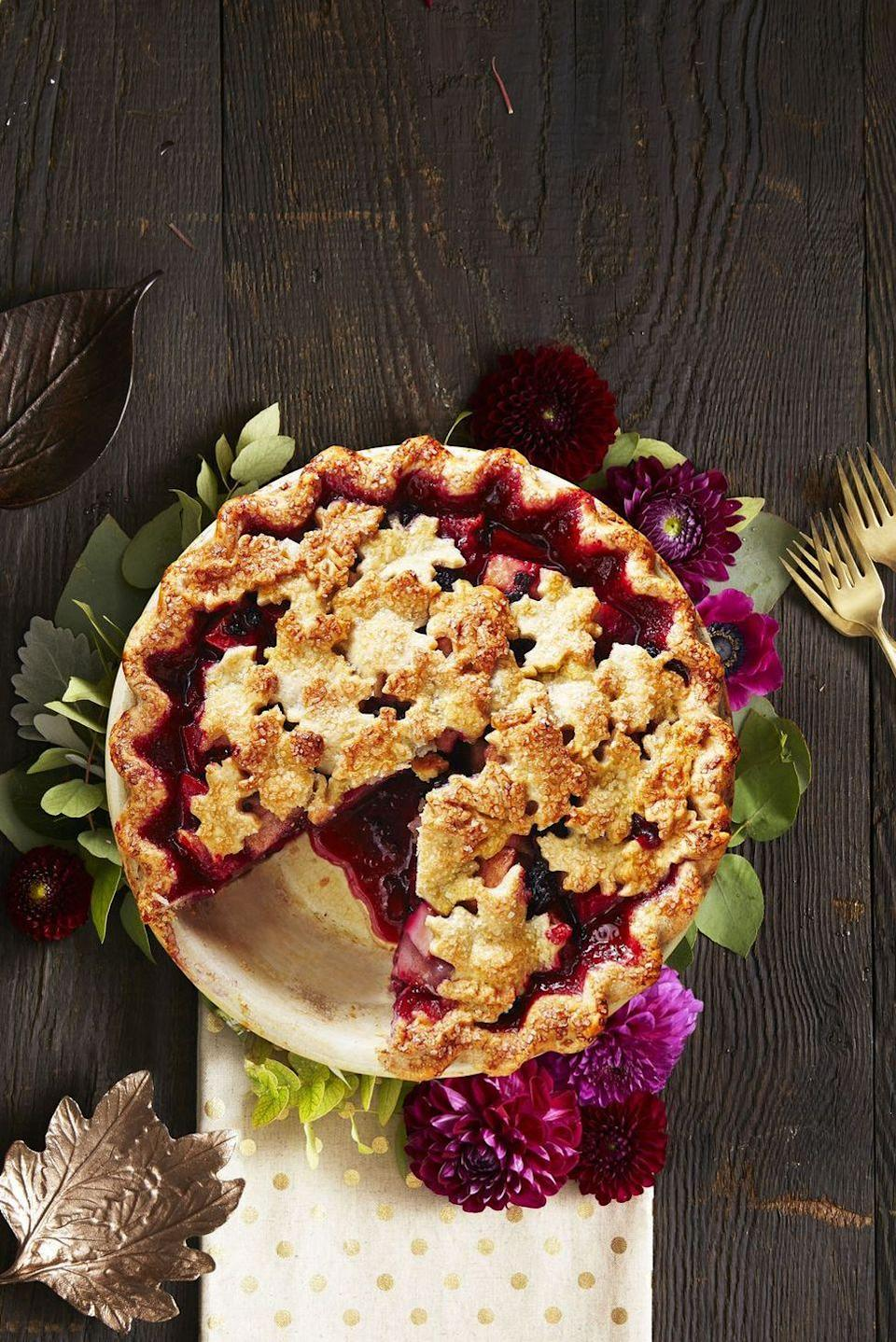 "<p>As pretty as a picture, guests will enjoy the tart flavoring of the pear and blackberry.</p><p><a href=""https://www.goodhousekeeping.com/food-recipes/dessert/a34579/harvest-pear-blackberry-pie/"" rel=""nofollow noopener"" target=""_blank"" data-ylk=""slk:Get the recipe for Harvest Pear Blackberry Pie »"" class=""link rapid-noclick-resp""><em>Get the recipe for </em><em>Harvest Pear Blackberry Pie</em> <strong>»</strong></a></p>"