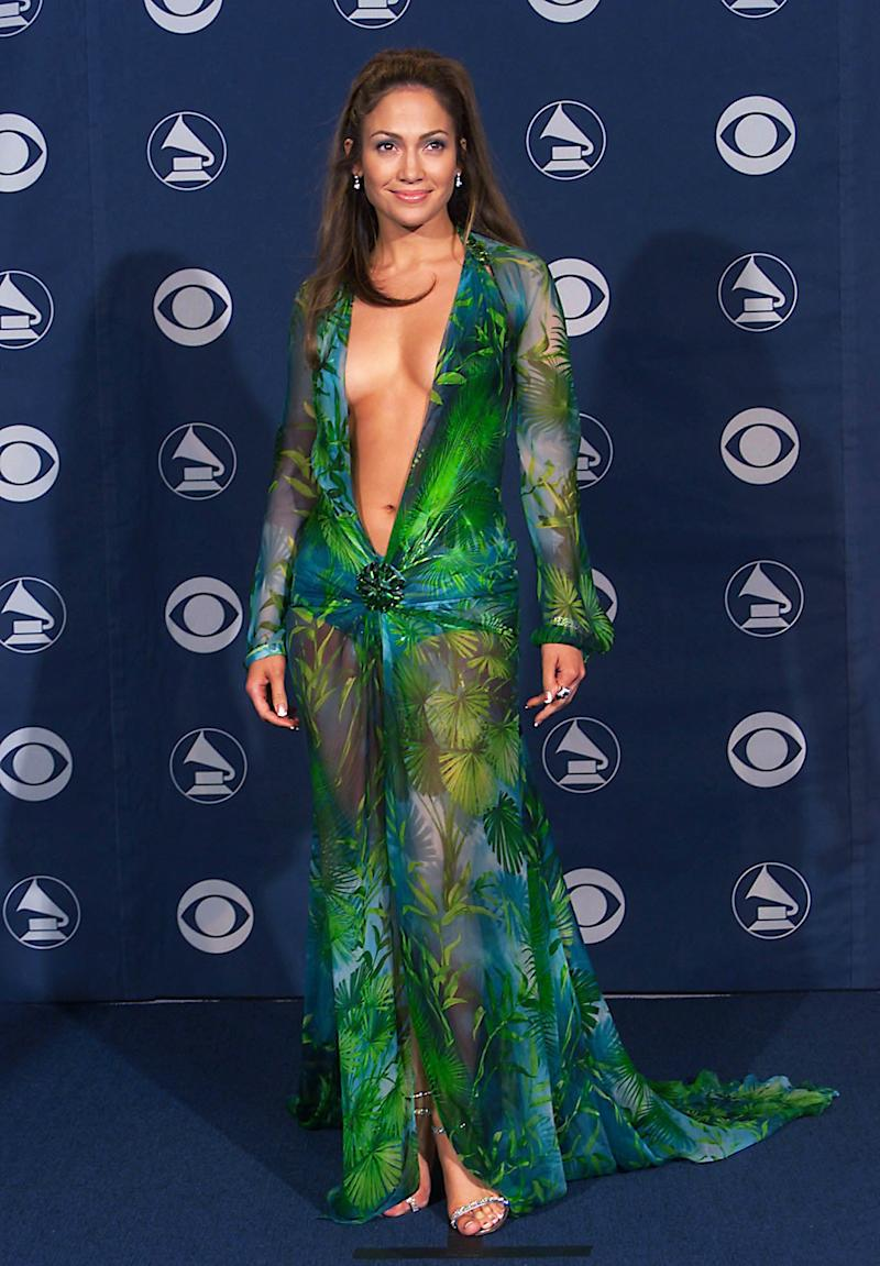 Jennifer Lopez in her historic Versace dress at the 42nd Grammy Awards in Los Angeles on February 23, 2000.