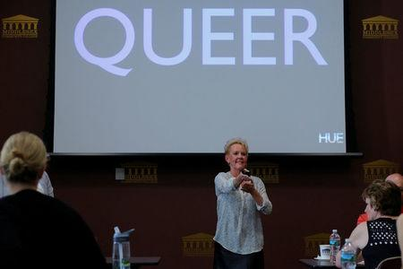 Debra Fowler, co-founder of History Unerased (HUE), which aims to provide educators with materials about the role lesbian, gay bisexual and transgender people have played in the history of the United States, leads a training session for educators in Lowell, Massachusetts, U.S., May 18, 2017. REUTERS/Brian Snyder
