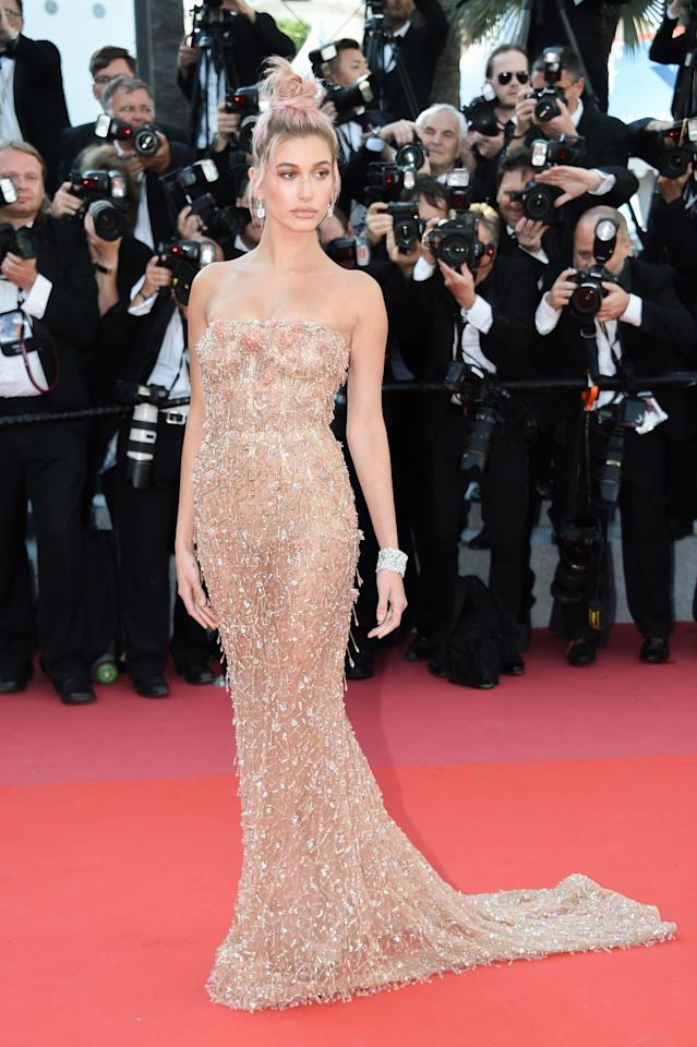<p>Hailey's illusion gown was so beautifully beaded it distracted from the whole see-through element.</p>