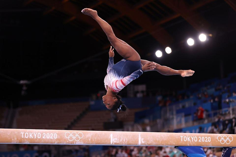 <p>The United States's Simone Biles competes in the women's balance beam final.</p>