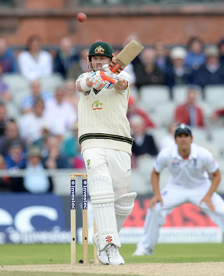 Australia's David Warner pulls a delivery from Tim Bresnan and is caught out during day four of the Third Investec Ashes test match at Old Trafford Cricket Ground, Manchester.