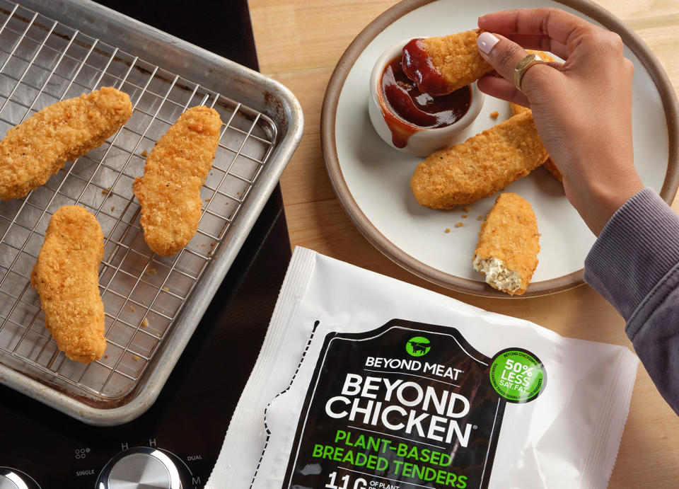This photo provided by Beyond Meat shows Beyond Meat new chicken tenders. (Beyond Meat via AP)