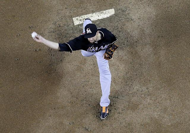 Miami Marlins pitcher Nathan Eovaldi throws against the Arizona Diamondbacks during the first inning of a baseball game, Wednesday, July 9, 2014, in Phoenix. (AP Photo/Matt York)
