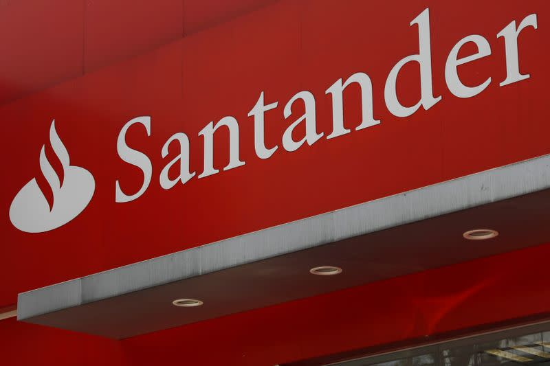 FILE PHOTO: The logo of Santander bank is seen at a branch in Mexico City