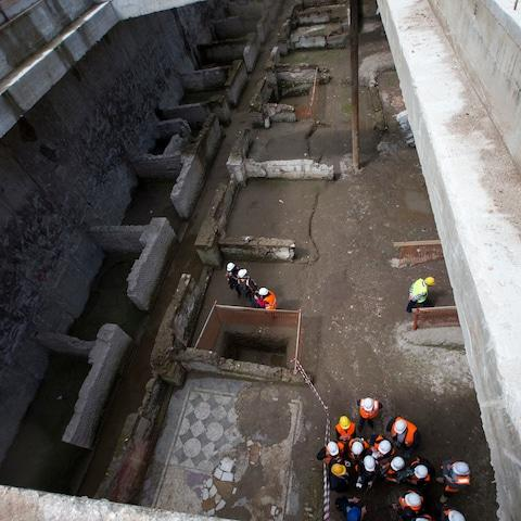 The construction of Rome's new metro line brought to light a 2nd century AD barracks used by the Praetorian Guard. - Credit: AP