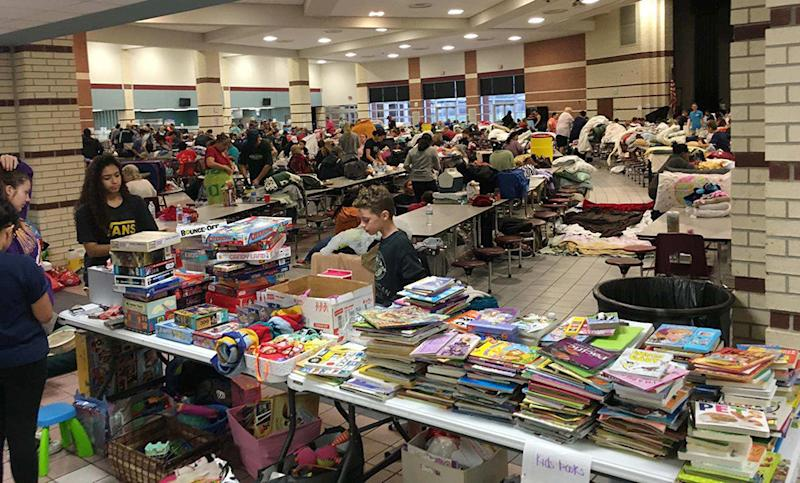Books and games for children were donated to the shelter at Cinco Ranch High School. (David Lohr/HuffPost)