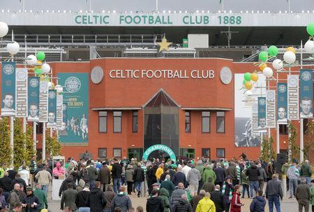Celtic fans gather outside Celtic Park before the last match of the season against Heart of Midlothian, Glasgow, Scotland, Britain, May 21, 2017. Picture taken May 21, 2017 REUTERS/Paul Hackett