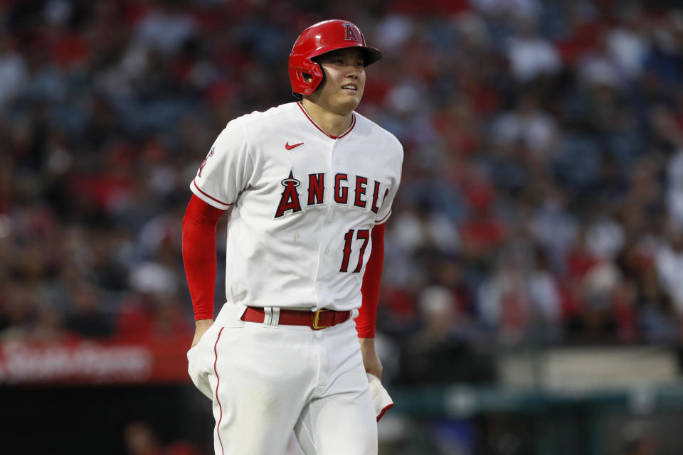 Los Angeles Angels' Shohei Ohtani walks during an at bat during the fifth inning of a baseball game against the Detroit Tigers in Anaheim, Calif., Thursday, June 17, 2021. (AP Photo/Alex Gallardo)