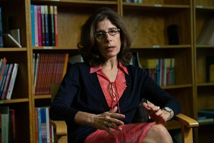 Pinelopi Koujianou Goldberg, World Bank chief economist, speaks to AFP during an interview in Washington, DC, on October 8, 2019 (AFP Photo/NICHOLAS KAMM)