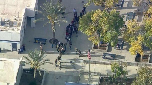PHOTO: Students are evacuated from Saugus High School in Santa Clarita, Calif., near Los Angeles, after reports of a shooting, Nov. 14, 2019. (KTTV)