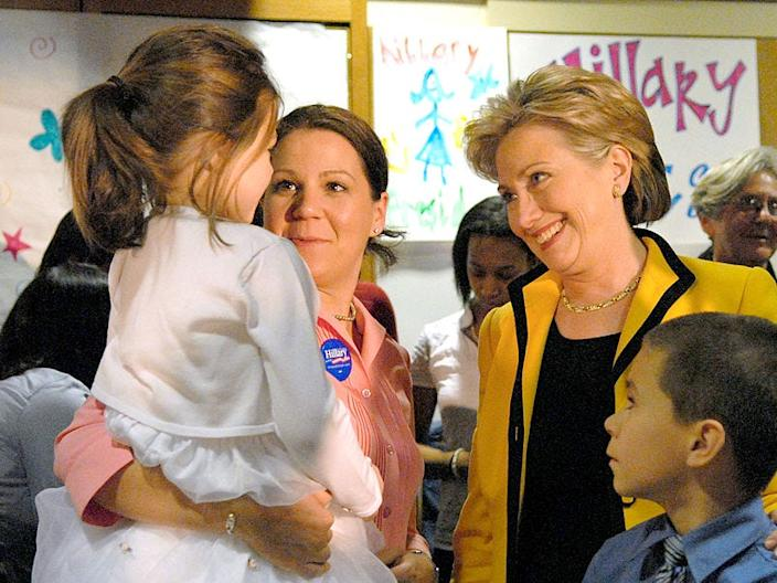 Amy Lappos and her children met former Democratic presidential candidate Sen. Hillary Clinton at the Yale Child Study Center in New Haven, Connecticut, on Monday, February 4, 2008.