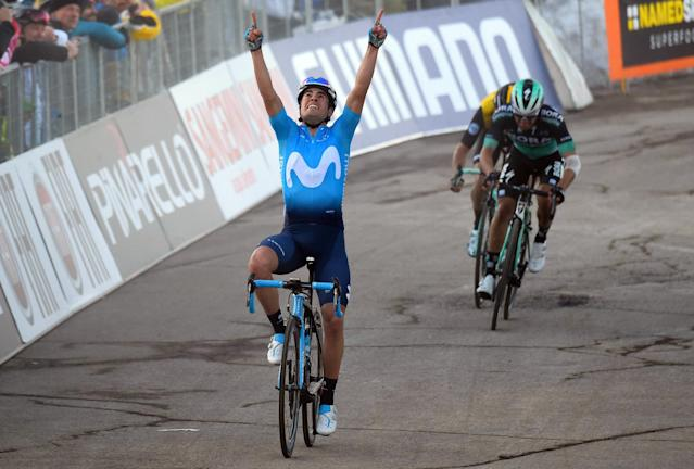 Spain's Mikel Landa celebrates as he crosses the finish line to win the 4th stage of the Tirreno-Adriatico cycling race, from Foligno to Sassotetto, Italy, Saturday, March 10, 2018. (Dario Belingheri/ANSA via AP)