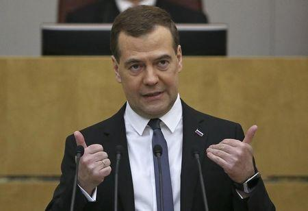 Russia's Prime Minister Dmitry Medvedev addresses the State Duma, the lower house of parliament, in Moscow