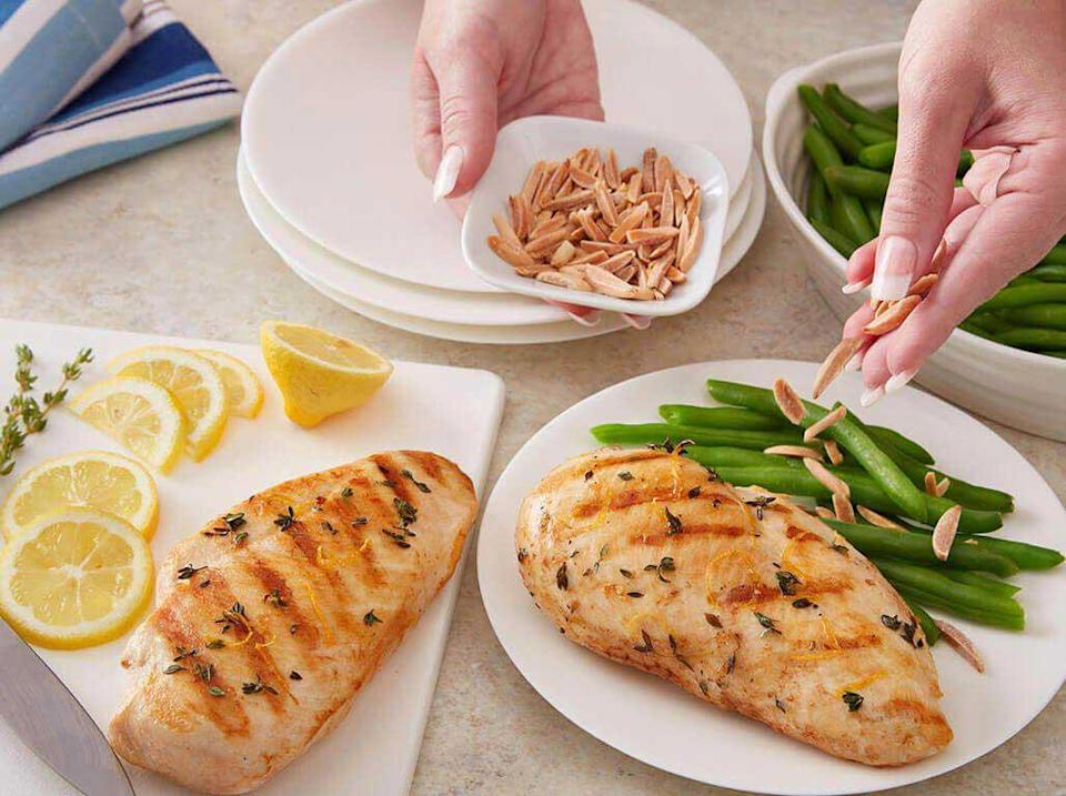 """<p>Skipping out on the seasonings is generally a <a href=""""https://www.thedailymeal.com/cook/bad-cooking-habits?referrer=yahoo&category=beauty_food&include_utm=1&utm_medium=referral&utm_source=yahoo&utm_campaign=feed"""" rel=""""nofollow noopener"""" target=""""_blank"""" data-ylk=""""slk:bad cooking habit"""" class=""""link rapid-noclick-resp"""">bad cooking habit</a>, but this minimal chicken recipe is the exception. You'll need only salt, pepper, thyme, lemon juice and minced shallots to whip up this light dish. </p> <p><a href=""""https://www.thedailymeal.com/best-recipes/grilled-chicken-breast-lemon-thyme-marinade?referrer=yahoo&category=beauty_food&include_utm=1&utm_medium=referral&utm_source=yahoo&utm_campaign=feed"""" rel=""""nofollow noopener"""" target=""""_blank"""" data-ylk=""""slk:For the Lemon Thyme Chicken recipe, click here."""" class=""""link rapid-noclick-resp"""">For the Lemon Thyme Chicken recipe, click here. </a></p>"""