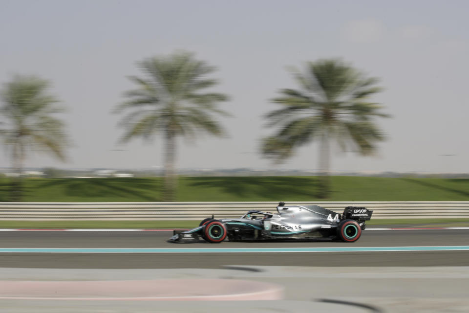 Mercedes driver Lewis Hamilton of Britain steers his car during the third free practice at the Yas Marina racetrack in Abu Dhabi, United Arab Emirates, Saturday, Nov. 30, 2019. The Emirates Formula One Grand Prix will take place on Sunday. (AP Photo/Luca Bruno)