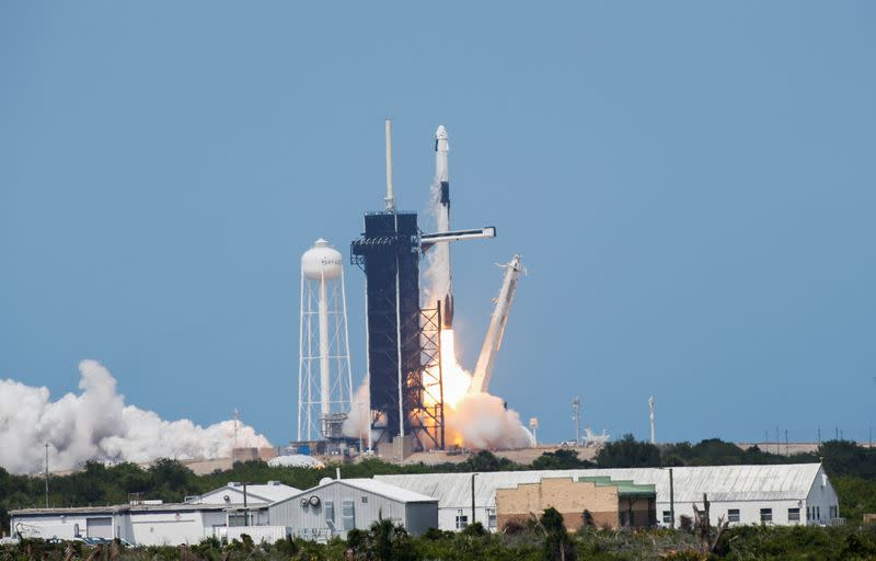 A SpaceX Falcon 9 rocket and Crew Dragon spacecraft carrying NASA astronauts Douglas Hurley and Robert Behnken launches NASA's SpaceX Demo-2 mission to the International Space Station from NASA's Kennedy Space Center in Cape Canaveral