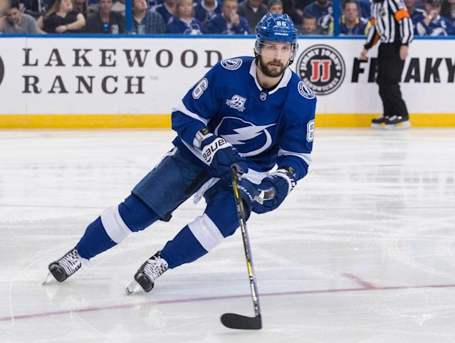 "<a class=""link rapid-noclick-resp"" href=""/nhl/players/5425/"" data-ylk=""slk:Nikita Kucherov"">Nikita Kucherov</a> was the first early MVP candidate, but there are many more now. (Getty Images)"