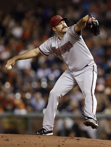 Arizona Diamondbacks starting pitcher Josh Collmenter throws to a San Francisco Giants batter during the first inning of a baseball game Tuesday, Sept. 25, 2012, in San Francisco. (AP Photo/Marcio Jose Sanchez)