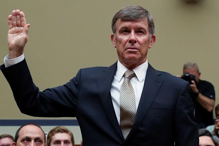 Acting Director of National Intelligence (DNI) Joseph Maguire is sworn in to testifify before a House Intelligence Committee hearing on the handling of the whistleblower complaint in the Office of the Director of National Intelligence on Capitol Hill in Washington, U.S., September 26, 2019. REUTERS/Leah Millis