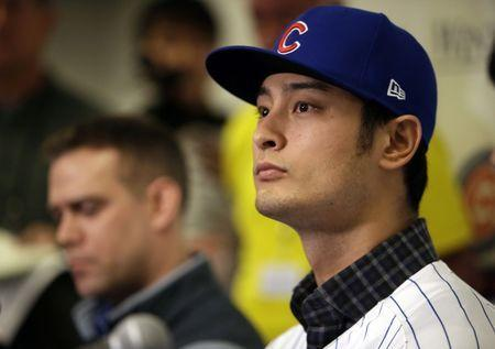 Feb 13, 2018; Mesa, AZ, USA; Chicago Cubs pitcher Yu Darvish addresses the media at Sloan Park. Mandatory Credit: Rick Scuteri-USA TODAY Sports