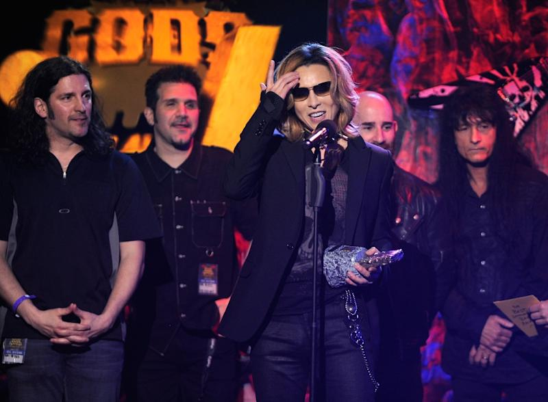 Musician Yoshiki of X Japan, pictured here, on stage at the 2012 Revolver Golden Gods Award Show at Club Nokia on April 11, 2012 in Los Angeles, California (AFP Photo/Frazer Harrison)
