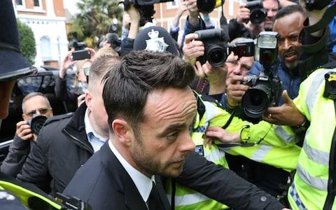 Ant McPartlin was met by a scrum of photographers - Credit: Stephen Lock / i-Images