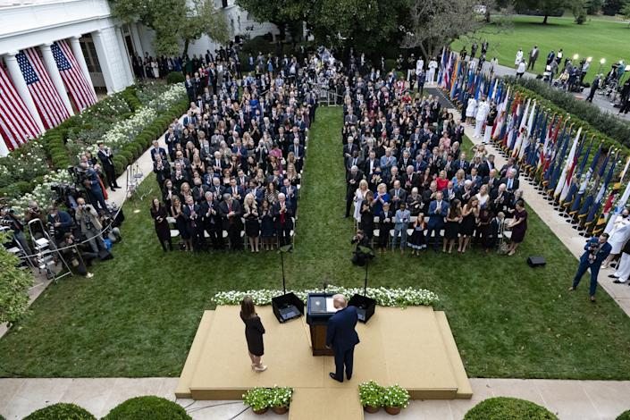 A photo of the crowd from above at the White House Rose Garden gathering Sept. 26.