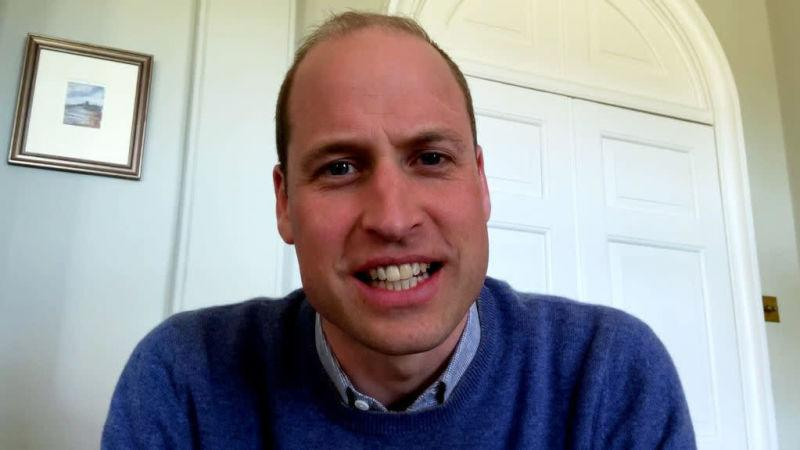 Close-up of Prince William speaking into a camera
