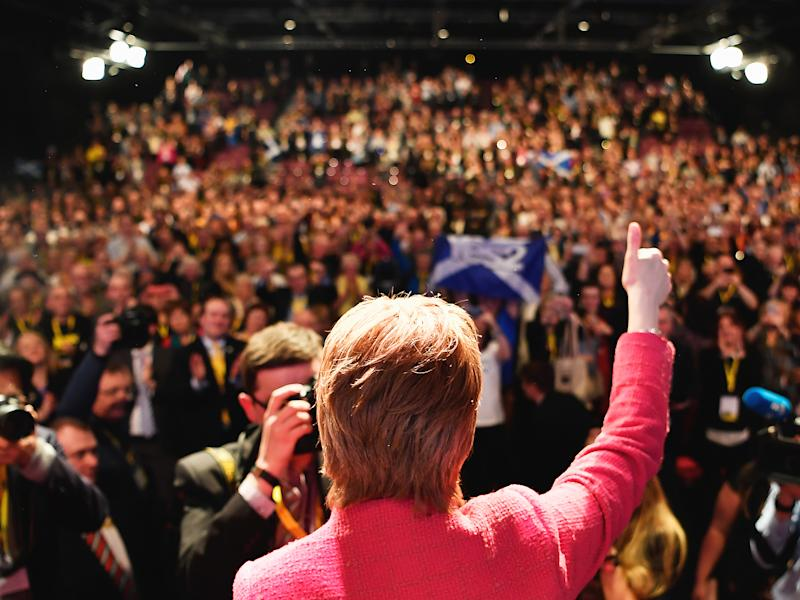 Nicola Sturgeon, SNP leader, addresses the party's spring conference in Aberdeen on Saturday: Getty