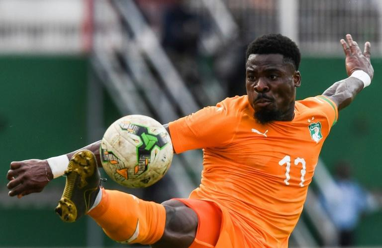 Ivory Coast defender Serge Aurier controls the ball