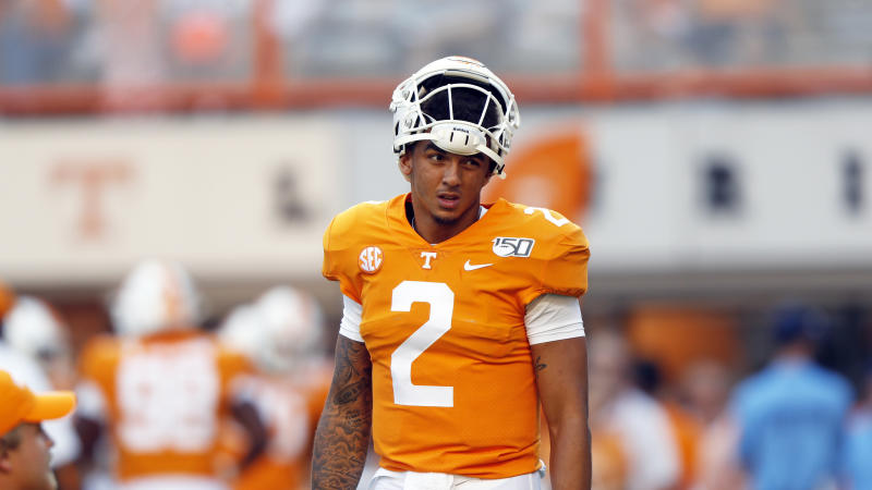 Tennessee quarterback Jarrett Guarantano (2) is seen during warmups before an NCAA college football game against Brigham Young Saturday, Sept. 7, 2019, in Knoxville, Tenn. (AP Photo/Wade Payne)