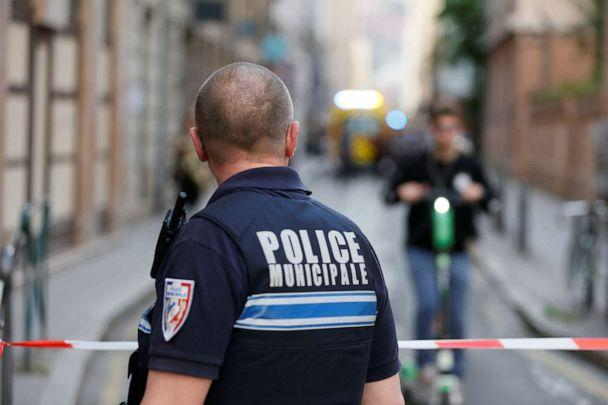 PHOTO: A policeman looks on near the site of a suspected bomb attack in central Lyon, France, May 24, 2019. (Emmanuel Foudrot/Reuters)