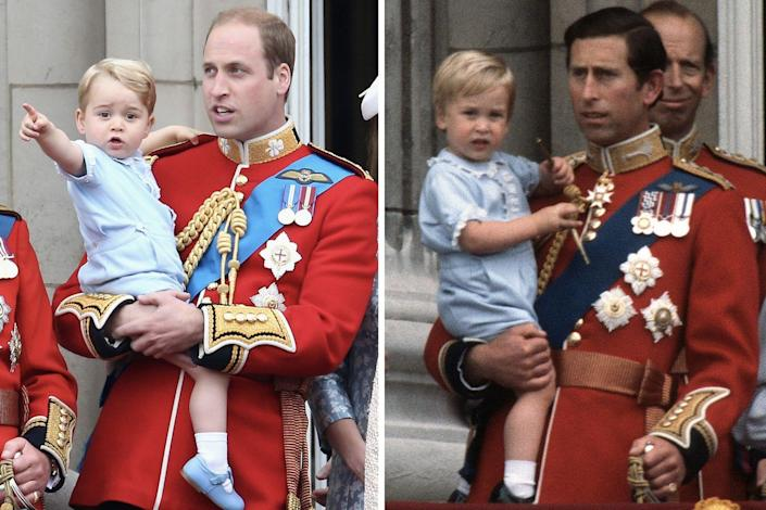 <p>Like father, like son: Prince George wore the same pastel blue outfit to Trooping the Colour in 2015 that his father did all the way back in 1984.<br></p>