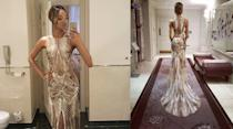 <p>The British model may've missed the red carpet, but she shared a couple of snaps of her stunning Julien Macdonald frock before she took to the stage to present an award. <i>[Photo: Instagram/Jourdan Dunn]</i></p>