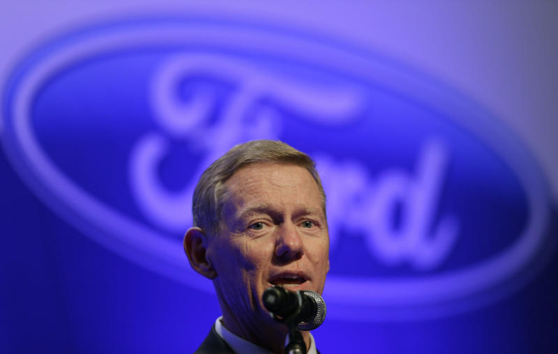 FILE- In this Friday, Aug. 31, 2012, file photo, Alan Mulally, the Global CEO of Ford Motor Co., answers reporters' question during news conference in Seoul, South Korea. Mulally, 67, joined Ford six years ago and appears close to retirement. Reports say he'll step down at the end of next year. Ford's board likely will discuss succession plans at a meeting Thursday, Sept. 13, 2012.   (AP Photo/Lee Jin-man, File)