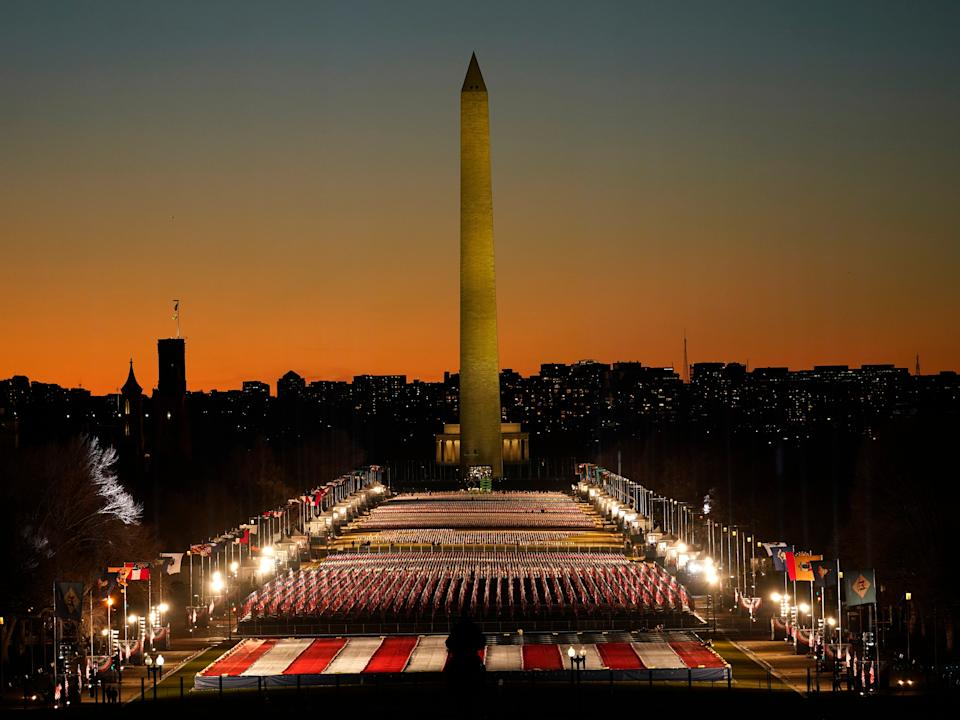 The Washington Monument was closed to members of the public for Joe Biden's inauguration, with the crowds replaced by a 'Field of Flags' exhibitionAP