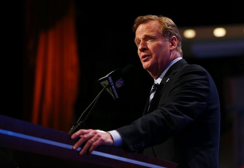 NFL Commissioner Roger Goodell, pictured in New York on May 8, 2014, has maintained no one at the NFL had seen the video of Ray Rice punching Janay Palmer