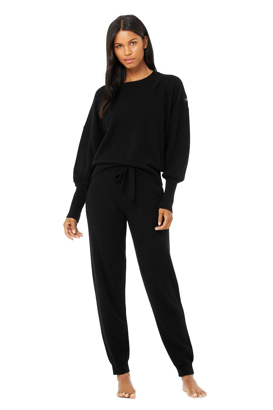 <p>Keep cozy in this luxe <span>Alo Cashmere Jet Set Crew & High-Waist Pant Set</span> ($475).</p>