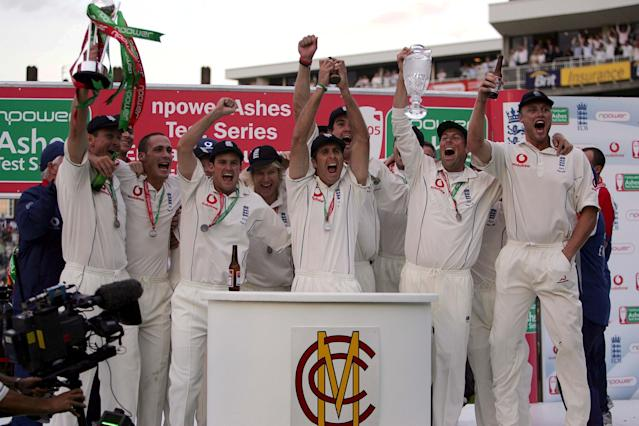 England's players, led by captain Michael Vaughan, celebrate their Ashes triumph at The Oval in 2005
