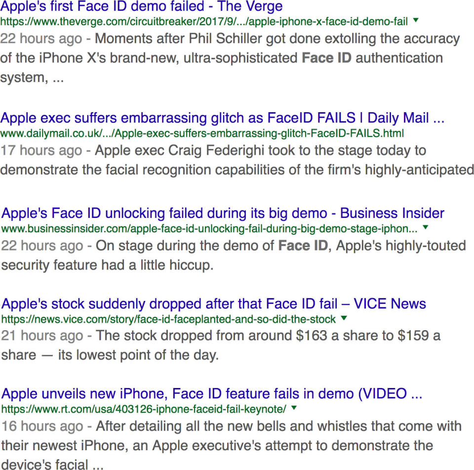 Some of the stories describing a technology failure onstage.