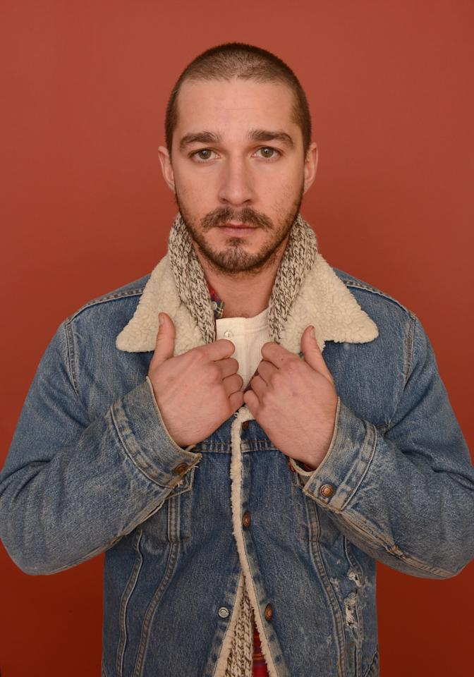 PARK CITY, UT - JANUARY 22:  Actor Shia LaBeouf poses for a portrait during the 2013 Sundance Film Festival at the Getty Images Portrait Studio at Village at the Lift on January 22, 2013 in Park City, Utah.  (Photo by Larry Busacca/Getty Images)
