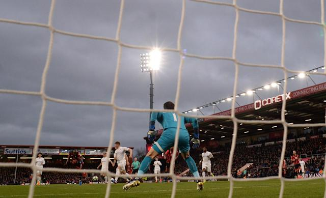 <p>Bournemouth's Benik Afobe scores their first goal </p>