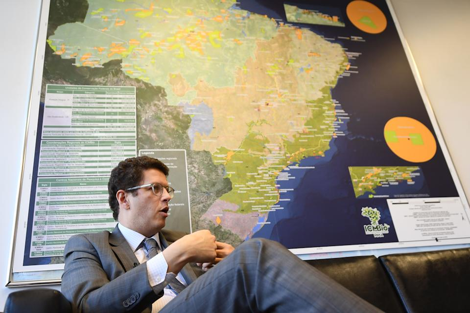 Brazilian Environment Minister Ricardo Salles offers an interview to AFP at his office in Brasilia, on August 4, 2020. - Fending off accusations of using his post to dismantle protections of the Amazon rainforest, Brazil's environment minister promised to deliver results on slowing deforestation by the end of the year. (Photo by EVARISTO SA / AFP) (Photo by EVARISTO SA/AFP via Getty Images)