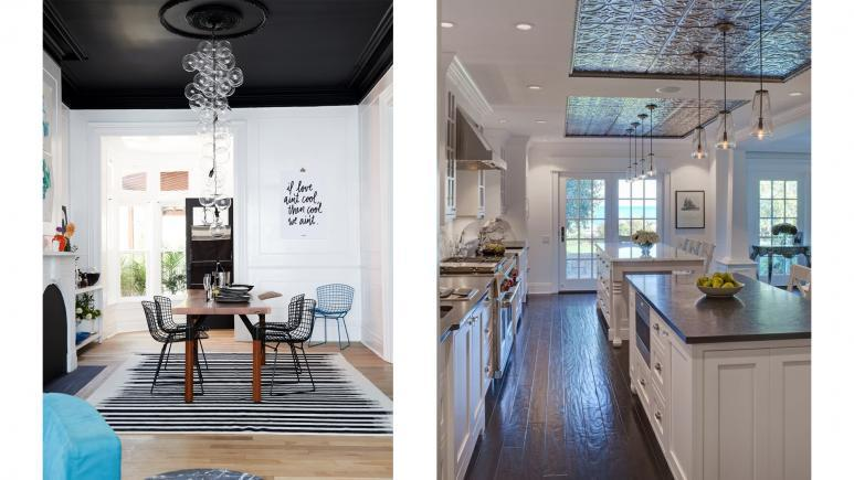 2 decorative ceiling examples side by side