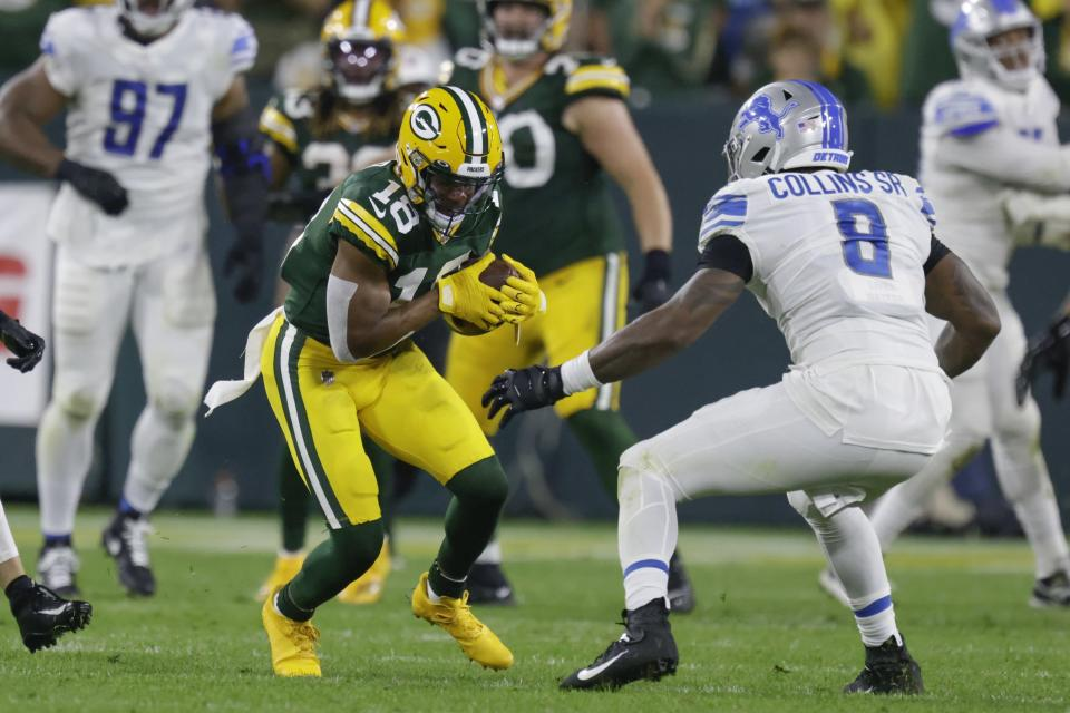 Green Bay Packers' Randall Cobb catches a pass during the second half of an NFL football game against the Detroit Lions Monday, Sept. 20, 2021, in Green Bay, Wis. (AP Photo/Matt Ludtke)