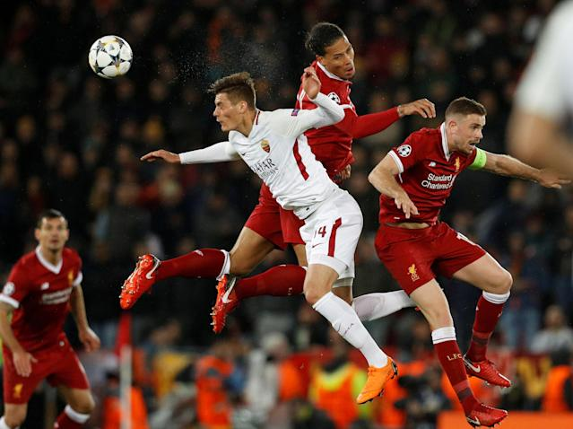 Soccer Football - Champions League Semi Final First Leg - Liverpool vs AS Roma - Anfield, Liverpool, Britain - April 24, 2018 Roma's Patrik Schick in action with Liverpool's Virgil van Dijk and Jordan Henderson REUTERS/Phil Noble TPX IMAGES OF THE DAY