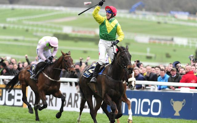 <span>Sizing John powers to victory at Cheltenham last month</span> <span>Credit: REX FEATURES </span>