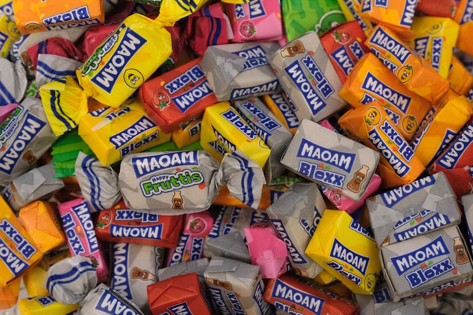 BERLIN, GERMANY - JANUARY 22: Maoam chewable candies lie in a bowl at an event on January 22, 2019 in Berlin, Germany. Maoams have been produced in Germany since 1930 and the brand is owned by Haribo.  (Photo by Sean Gallup/Getty Images)