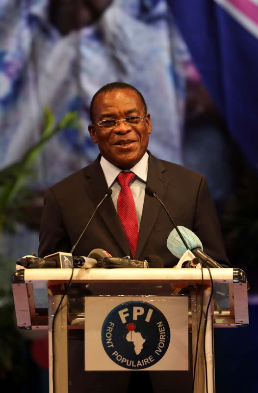Pascal Affi N'Guessan, president of FPI (Ivorian Popular Front), speaks after being chosen as candidate for October's presidential election by his party during the party's 5th congress in Abidjan